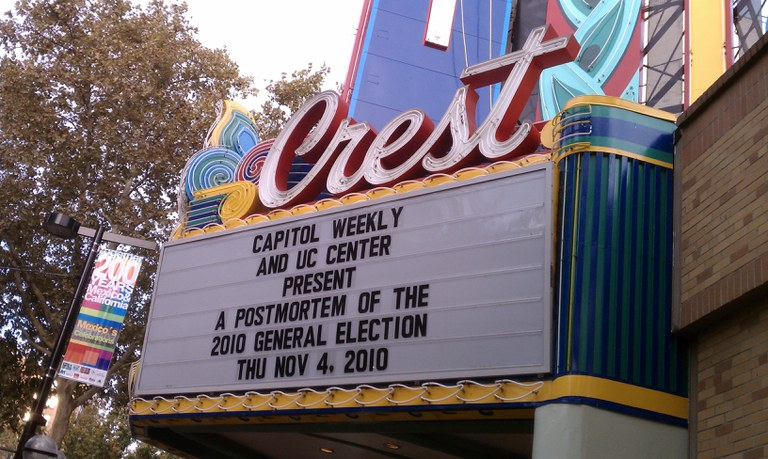 Crest Theater Marquee for 2010 Election Post-Mortem